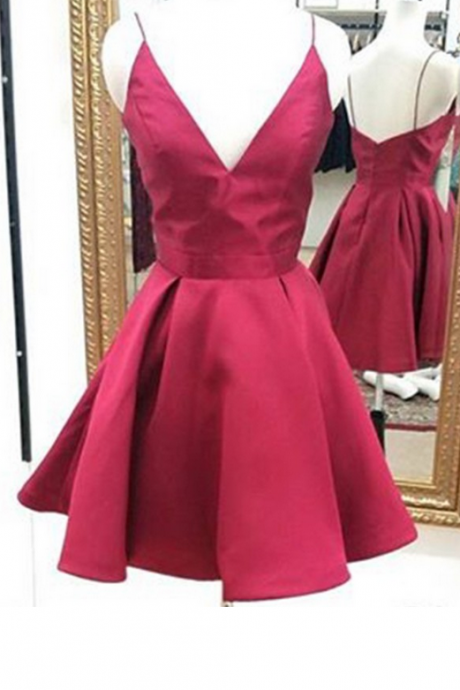 Same as the picture Homecoming Dresses Hollow Sleeveless Matte Satin Ruched Mini V-Neck Scoop A-Line/Column