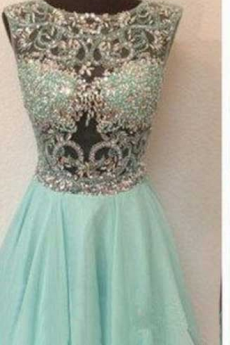 Mint Homecoming Dresses Zipper-Up Sleeveless Beaded Mini Jewels A-Line/Column