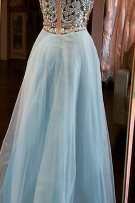 Blue Homecoming Dresses Zippers Sleeveless Tulle Embroidered Floor Length Bateau Aline