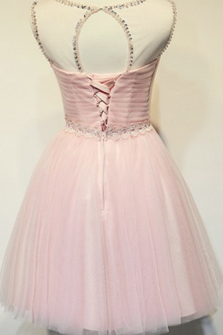 Sleeveless Pink Homecoming Dresses A Line Tulle Short O-neck Laced Up A Line