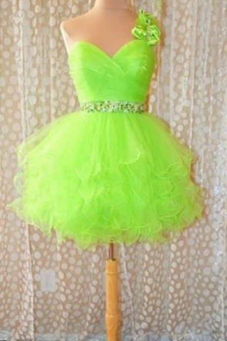 Sleeveless Green Homecoming Dresses A lines Shoulder Flower Above Knee One Sleeve Zippers A lines