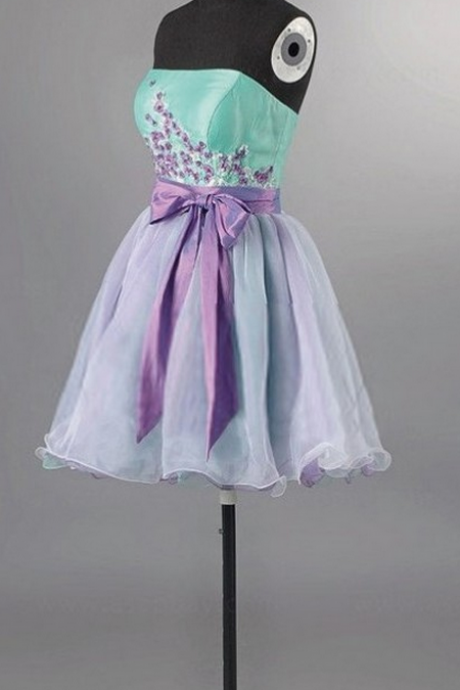 Sleeveless Light Purple Homecoming Dresses A Line Bow Short Strapless Laced Up A Line