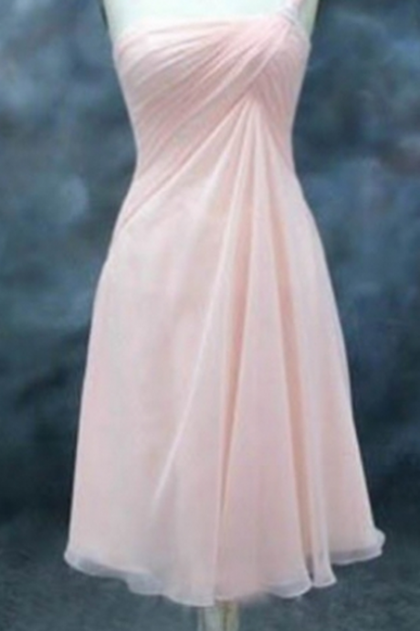 Zipper Pleated Chiffon Short/Mini One-shoulder A-line Sleeveless Homecoming Dress On Sale Dresses