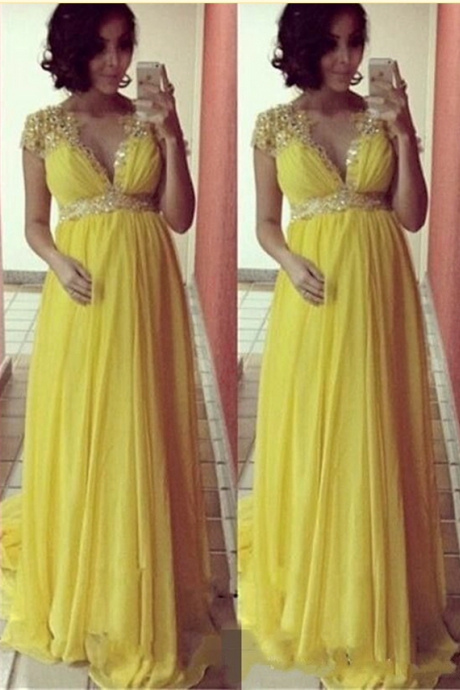 Long Yellow Prom Dresses Cap Sleeve V Neck Prom Gowns Chiffon Beaded Evening Dresses Party Dress Robe De Soiree
