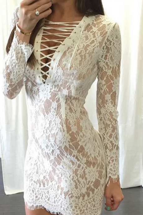 Lace white dress,Long sleeve lace prom dresses,party dress