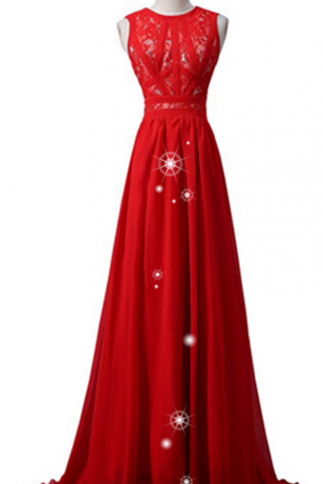 Red Simple Cheap Chiffon Lace Prom Dresses,Handmade Evening Dresses,O-neckline Prom Gowns,High Quality Party Dresses,