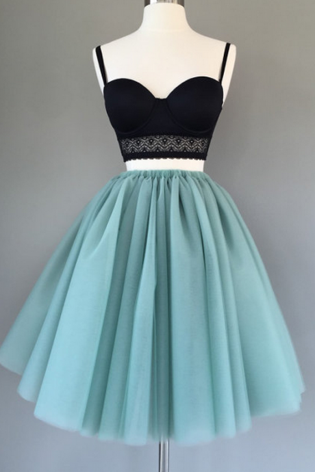 Two Pieces A-line Spaghetti Straps Short Prom Dress Green Homecoming Dresses