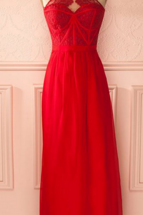 Red Halter Lace Corset A-line Floor-Length Prom Dress, Evening Dress, Formal Dress