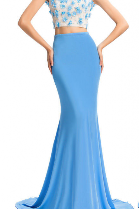 O-neck Mermaid chiffon Prom Dresses Two parts Appliques Sexy Floor Length Party Dresses