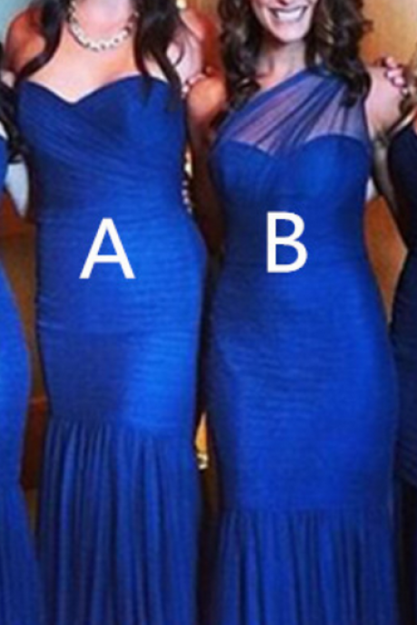 Two Styles Royal Blue Mermaid Prom Dresses,Handmade Bridesmaid Dress For Wedding,Simple Cheap Bridesmaid Gowns
