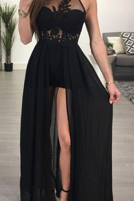 A-line Halter Prom Dresses,See-through Black Prom Gowns,Chiffon Evening Dresses,Sexy Long Prom Dresses,Prom Dresses,