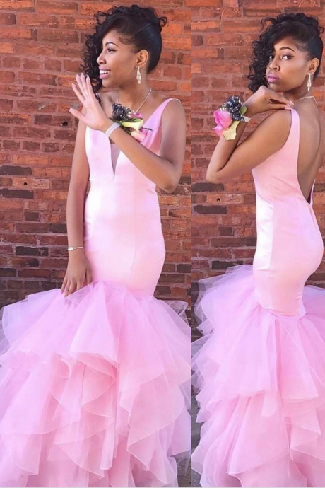 Gorgeous Mermaid Pink Long Prom Dress