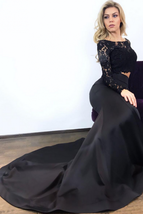 Black Top Lace Bottom Satin Mermaid Evening Dress with Long Sleeves Formal Party Gowns Closed Back Women Dress