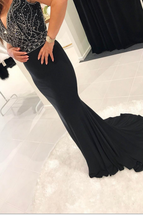 Hot V neck Elegant Women Formal Gowns Crystals Beads New Design Evening Dress for Special Occasion