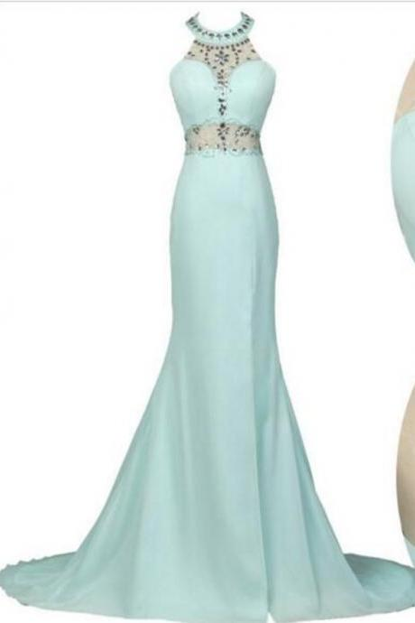 Halter Prom Dress with Sheer Waist