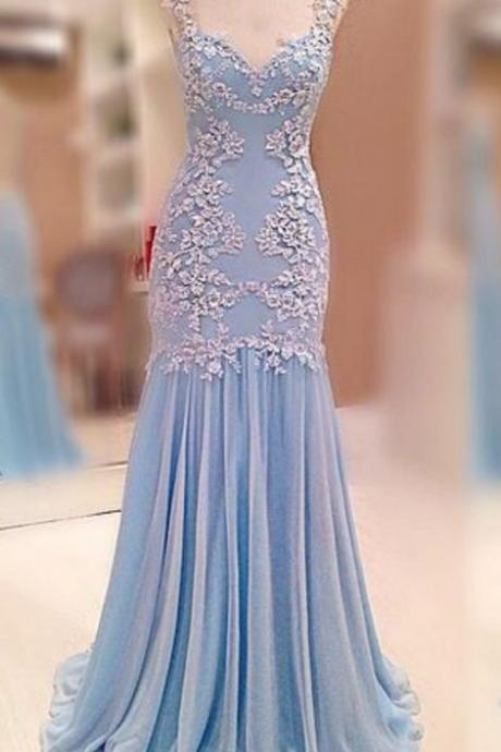 Illusion Back Long Mermaid Prom Dress with Lace