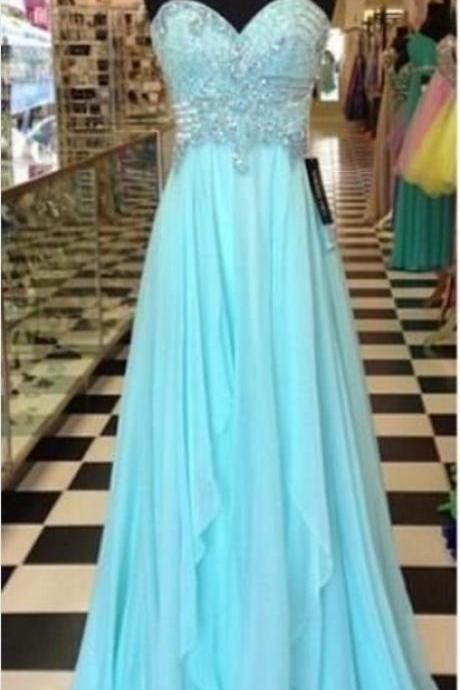 Strapless Long Beaded Chiffon Prom Dress with Draping Skirt