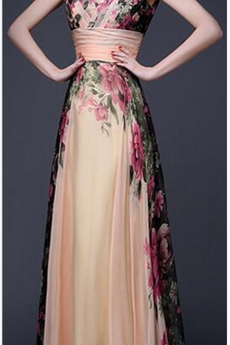 Elegant Flower Print Pleated Long Dress