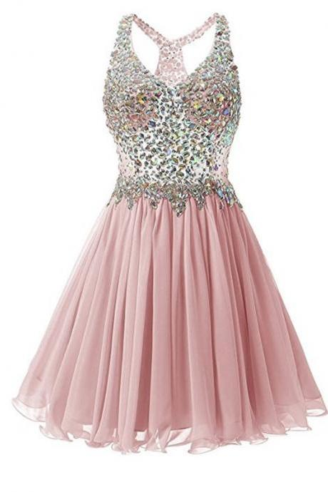 Luxury V Neck Rhinestones Chiffon Open Back Champagne Homecoming Dress Short