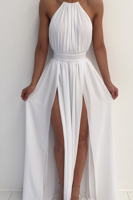 Bandage Backless High Waist Long Split Hems Dress