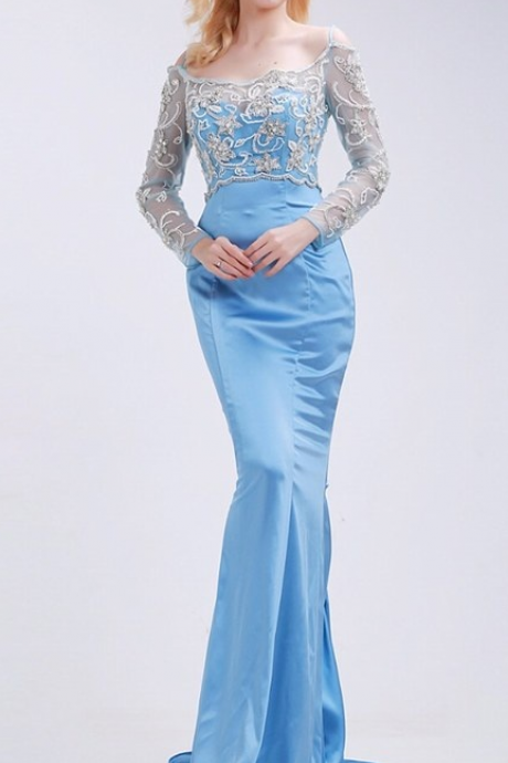 Mermaid Prom Dresses New Styles Gowns Beading Boat Neck Long Transparent Party Dresses lace-up back Formal occasion Dress