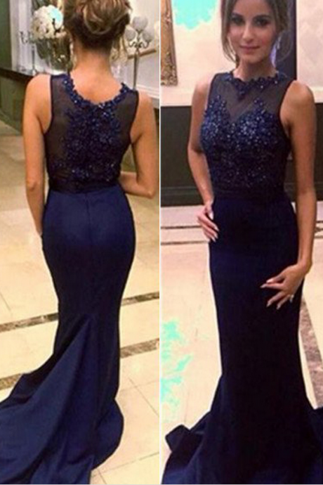 Blue Cheap Prom Dresses Long Trumpet/Mermaid Embroidery Satin Prom Gowns,Prom Dresses