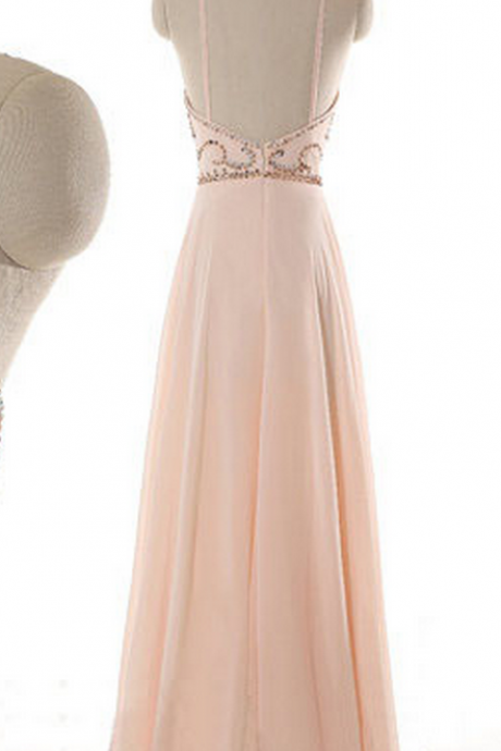 Halter Neck Floor-length A-line Chiffon Dress with Sequin Beaded Bodice - Formal Dress, Prom Dress