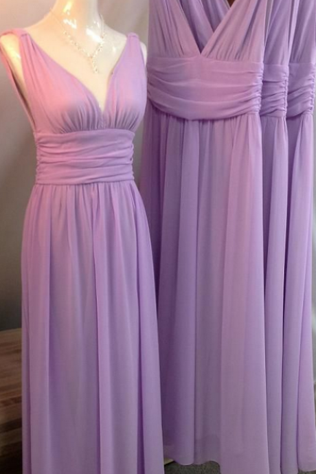 Lilac Bridesmaid Gown,Pretty Prom Dresses,Chiffon Prom Gown,Simple Bridesmaid Dress,Cheap Bridesmaid Dresses,