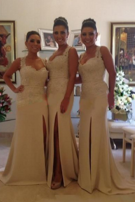 Ivory Bridesmaid Gown,Pretty Prom Dresses,Slit Wedding Gown,Mermaid Bridesmaid Dress,Lace Bridesmaid Dresses