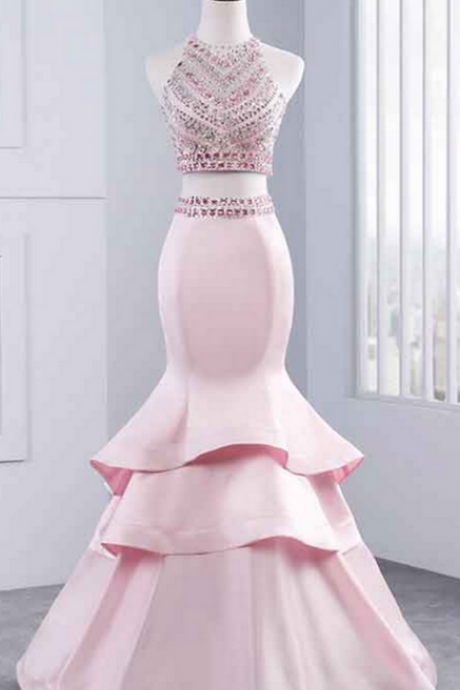 Long Prom Dresses, Sexy Prom Dresses, Two Piece Party Prom Dresses, Beading Prom Dresses, Prom Dresses