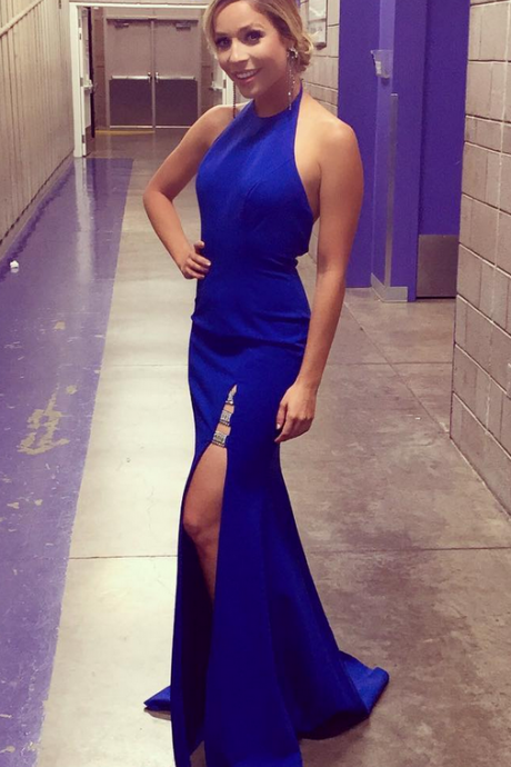 Dark Royal Blue Long Mermaid Evening Dress Side Slit Prom Gowns