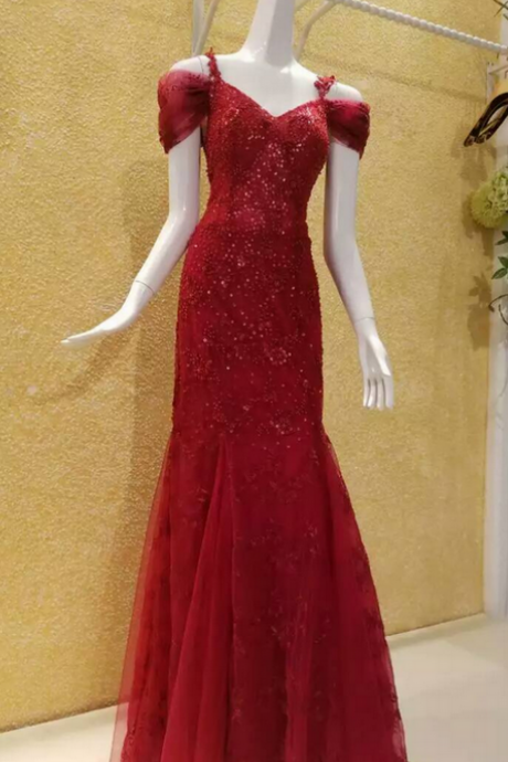 Evening Dress,Red Evening Dress,Sequined Evening Dress,Beaded Evening Dress,Mermaid Evening Dress