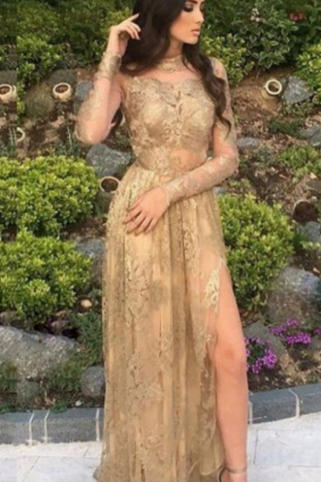 Charming Evening Dress,Full Sleeve Prom Dress,Lace Prom Party Gown,Sexy High Slit Evening Dress
