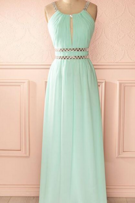 Halter Ruched Keyhole Beaded Chiffon Floor-Length Prom Dress, Evening Dress