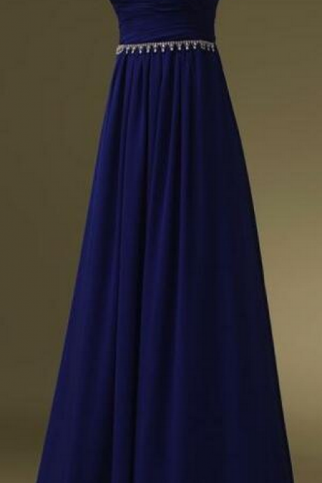 Strapless Sweetheart Ruched Beaded Chiffon Floor-Length Prom Dress, Evening Dress