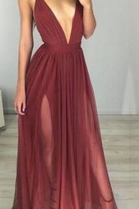 Sexy Spaghetti Straps Evening Dress,Deep V-Neck Prom Dresses,Chiffon Prom Dress,