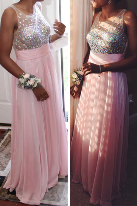Sleeveless A-Line Crystal Beading Prom Dress,Evening Dresses