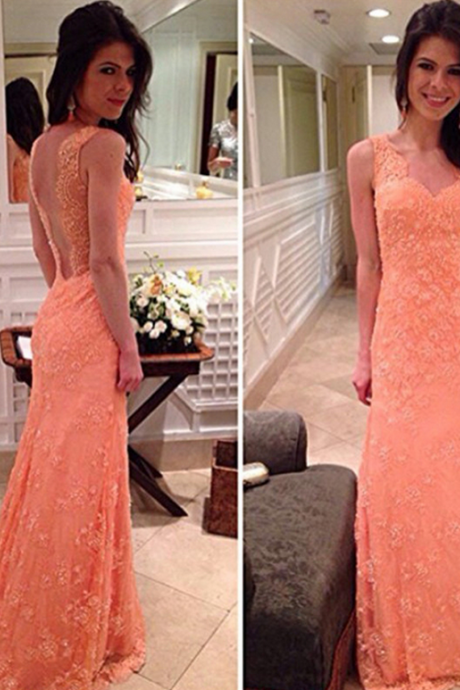 Sleeveless Backless Lace Prom Dress,Evening Dresses