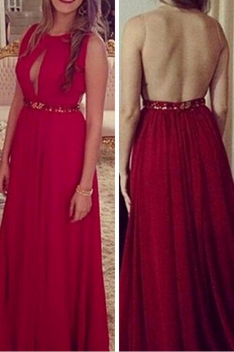 Sleeveless Backless Red A-Line Prom Dress,Evening Dresses