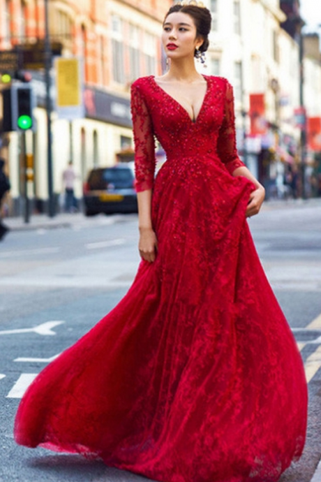 Red Beautiful Deep V-Neck Backless Lace Prom Dresses