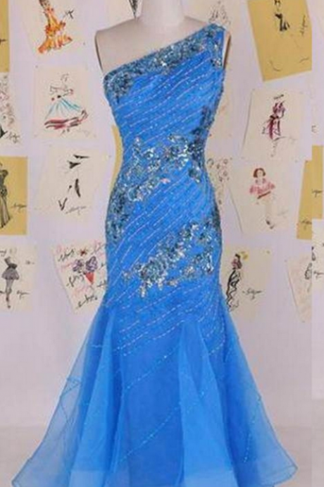 Blue Long One Shoulder Mermaid Organza Prom Dresses
