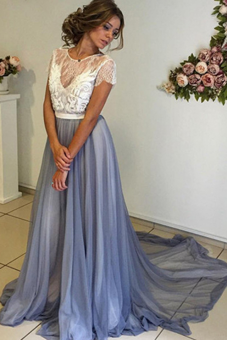 Long Prom Dress, Long Light Blue Prom Dress with White Lace Top, Formal Evening Dress