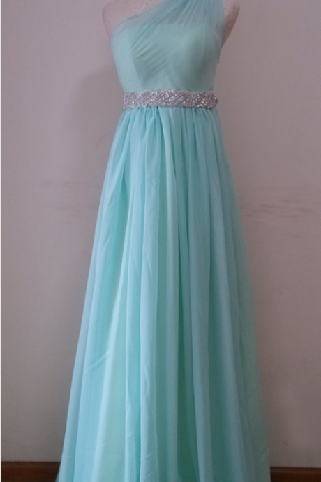 One Shoulder Long Chiffon Prom Dresses crystals Beaded Floor Length Party Dresses