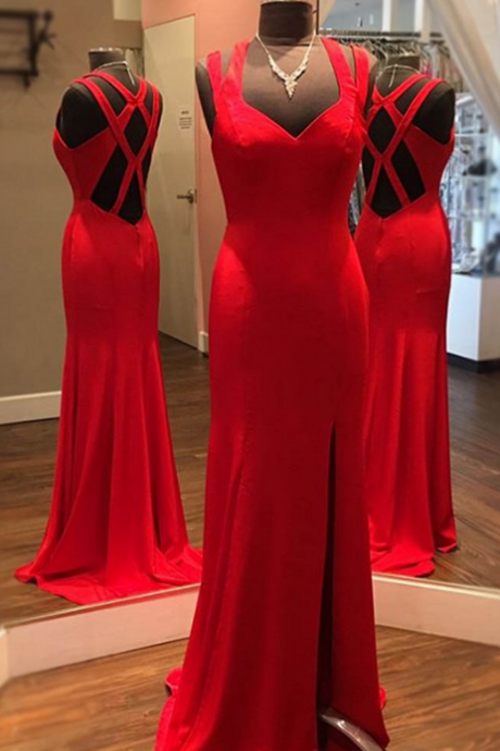 Simple Red Strappy Floor-Length Prom Dress with Side Slit,Sheath Sleeveless Prom Dresses