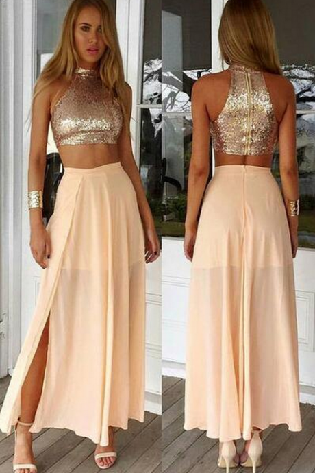 Sequined Top Prom Dress,Chiffon Prom Dress,2 Pieces Prom Dress,Summer Party Gown