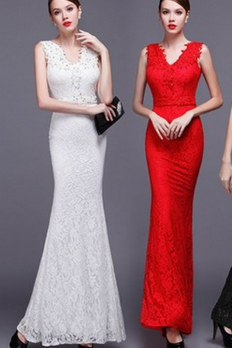 Mermaid V-neck Lave Formal Dress,Charming Evening Dress Prom Dress,Lace- up Back Party Dress