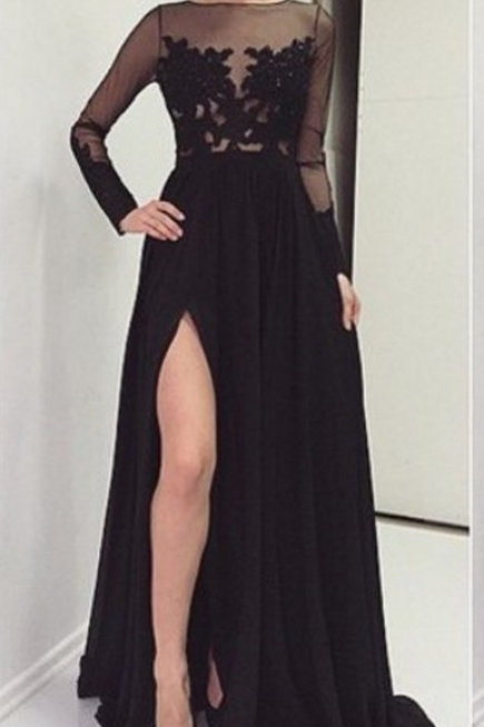 O-Neck Prom Dresses,Black Prom Dress,Evening Dresses