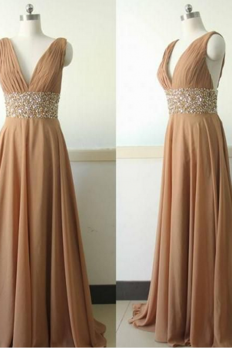 Charming Prom Dress,Chiffon Prom Dress,Beading Prom Dress,V-Neck Evening Dress