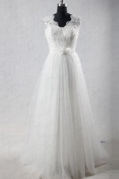 floor length bride wedding dress White / Ivory Sleeveless Wedding Dresses
