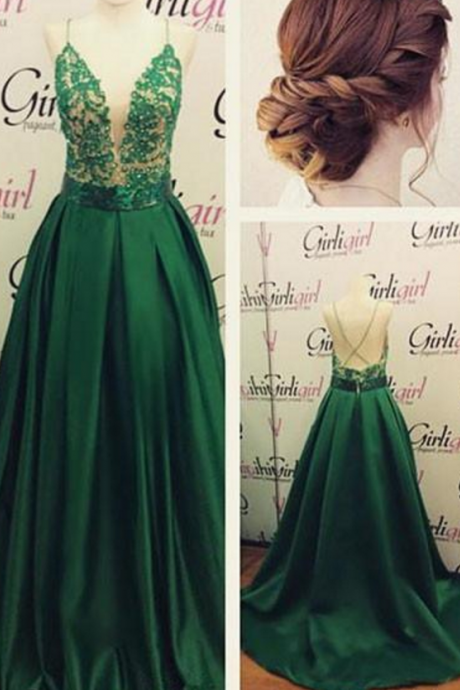 Sexy A-line Deep V Spaghetti Straps Lace Beading Prom Dress Green Beautiful Long Lace Prom Dress For Woman
